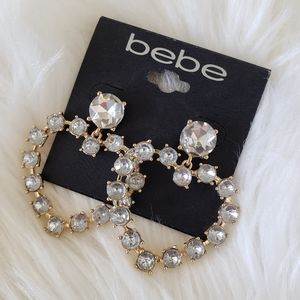 B2G1 NWT Bebe Large Crystal Heart Gold Earrings